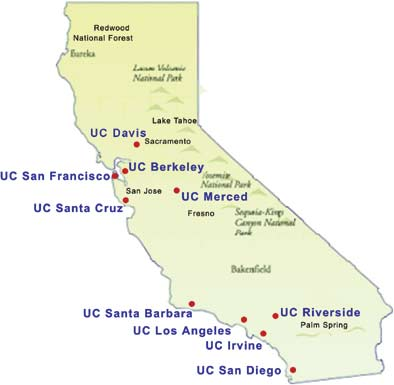 University of California map location