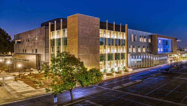 Math and Science Building at Night