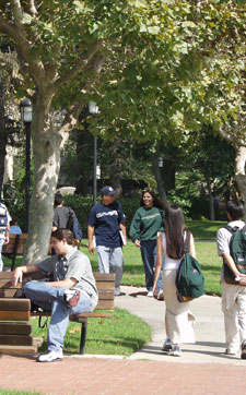 Students on the GWC campus Quad