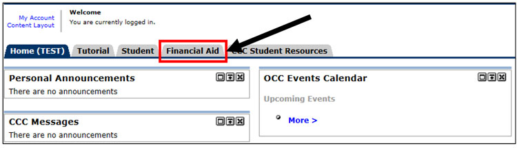 Financial Aid tab