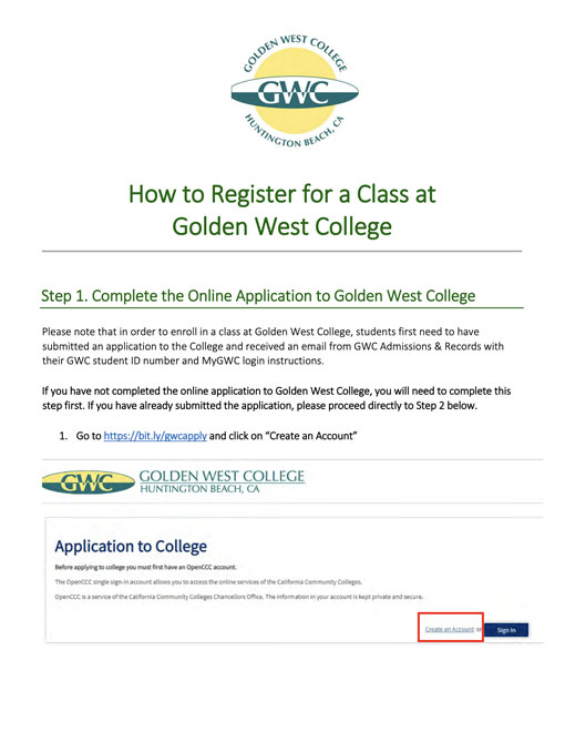 Dual enrollment - How to Register at GWC